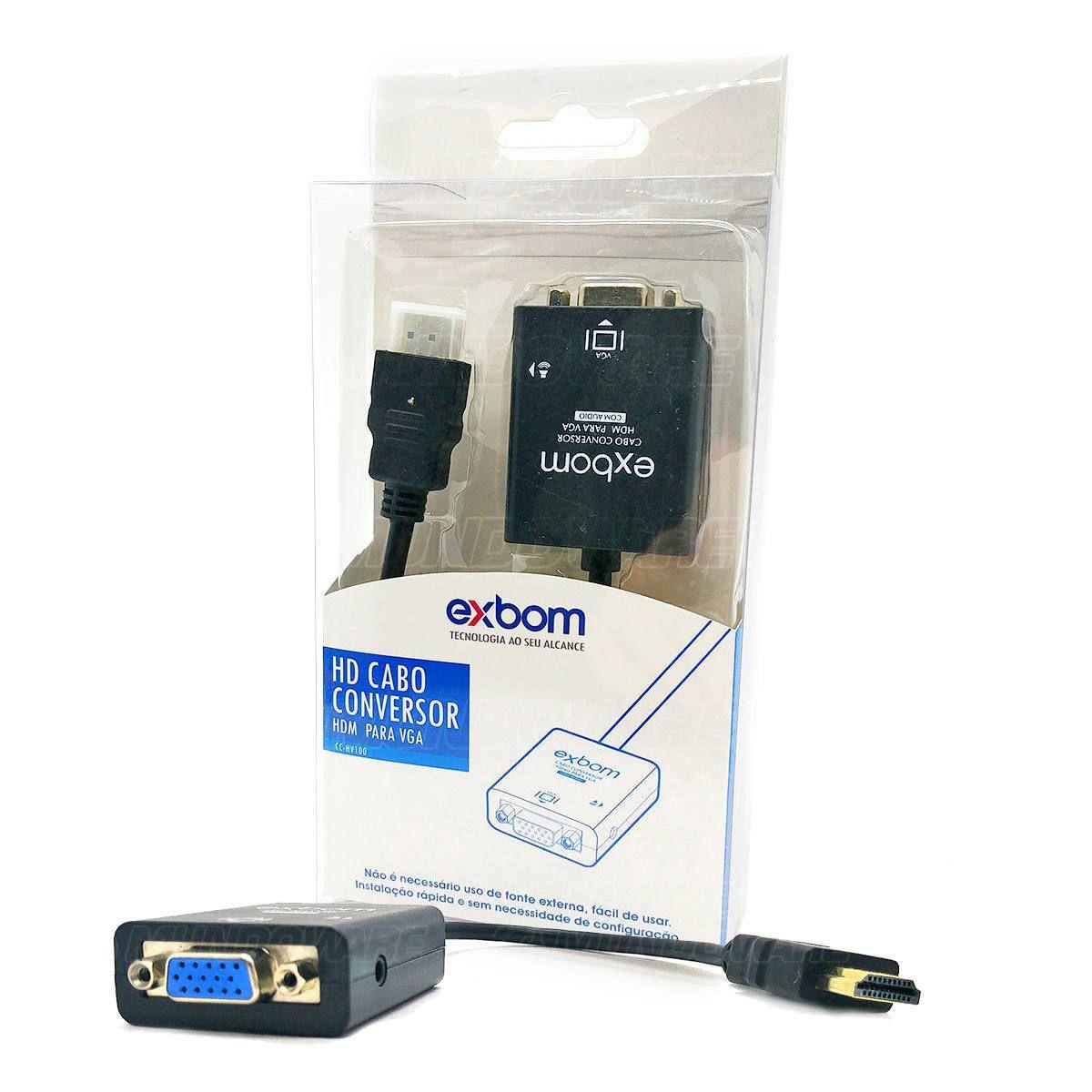 Cabo Conversor HDMI Macho para VGA Fêmea com Áudio Desbloqueado Exbom CC-HV100