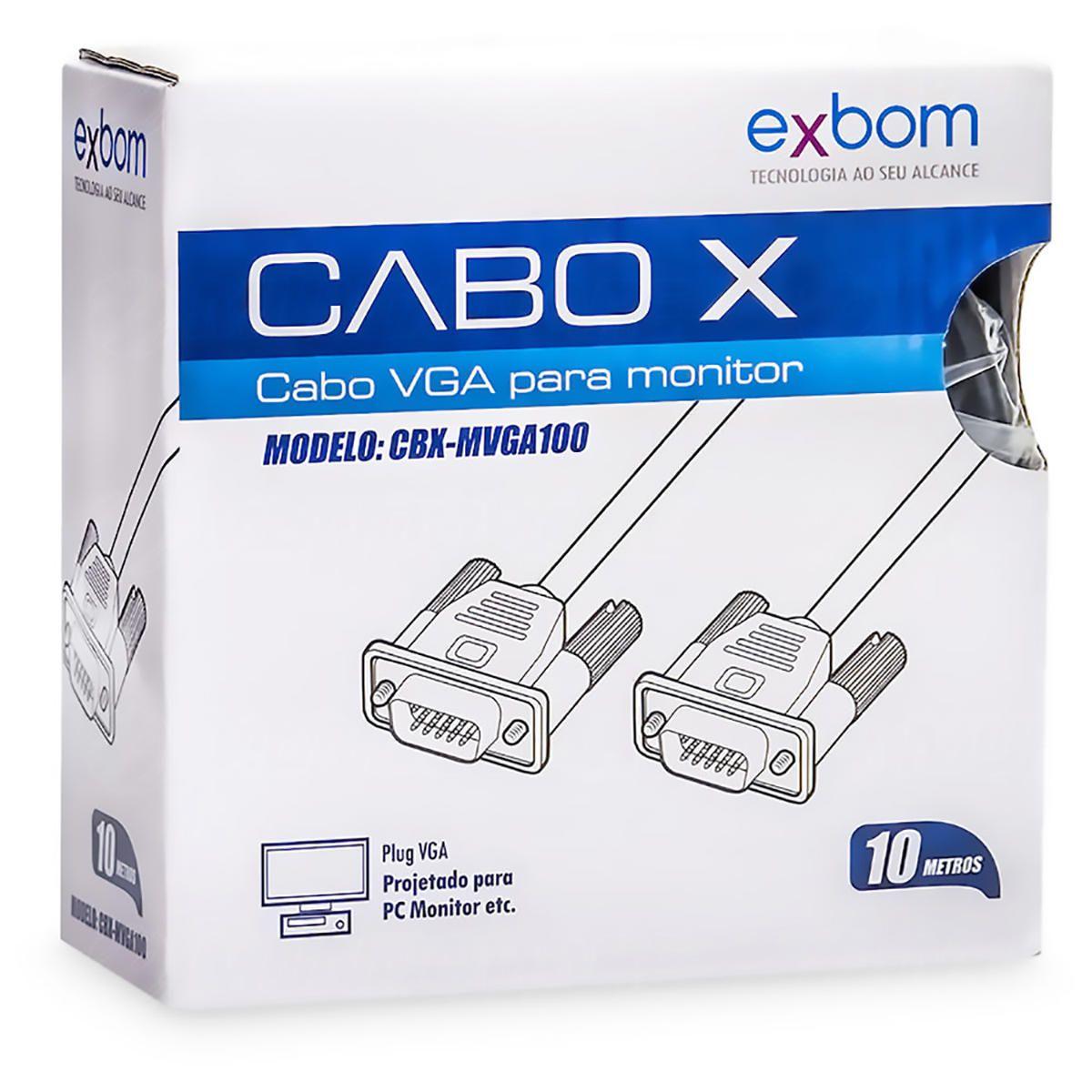 Cabo de Monitor VGA 10 metros com Filtro contra Interferência Exbom CBX-MVGA100