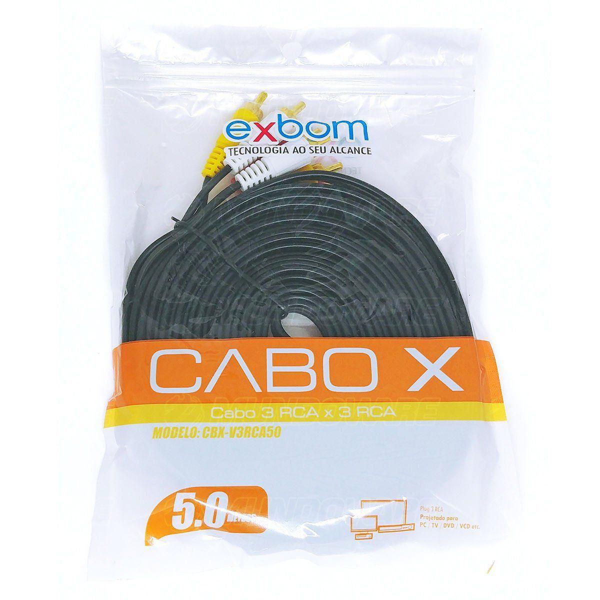 Cabo de Vídeo RCA 3x M x RCA 3x M Reforçado OD10.5 com Pontas Douradas 5 Metros Exbom CBX-V3RCA50