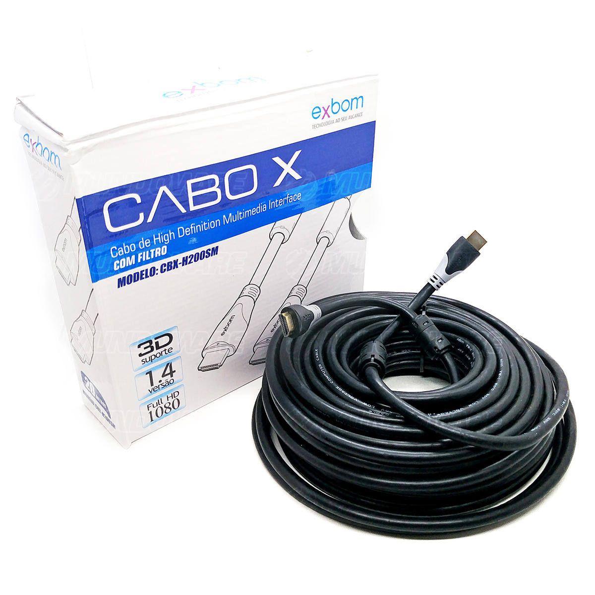 Cabo HDMI 20 metros com Filtro Emborrachado Blindado v1.4 Full HD 1080 3D Suporte Exbom CBX-H200SM Preto