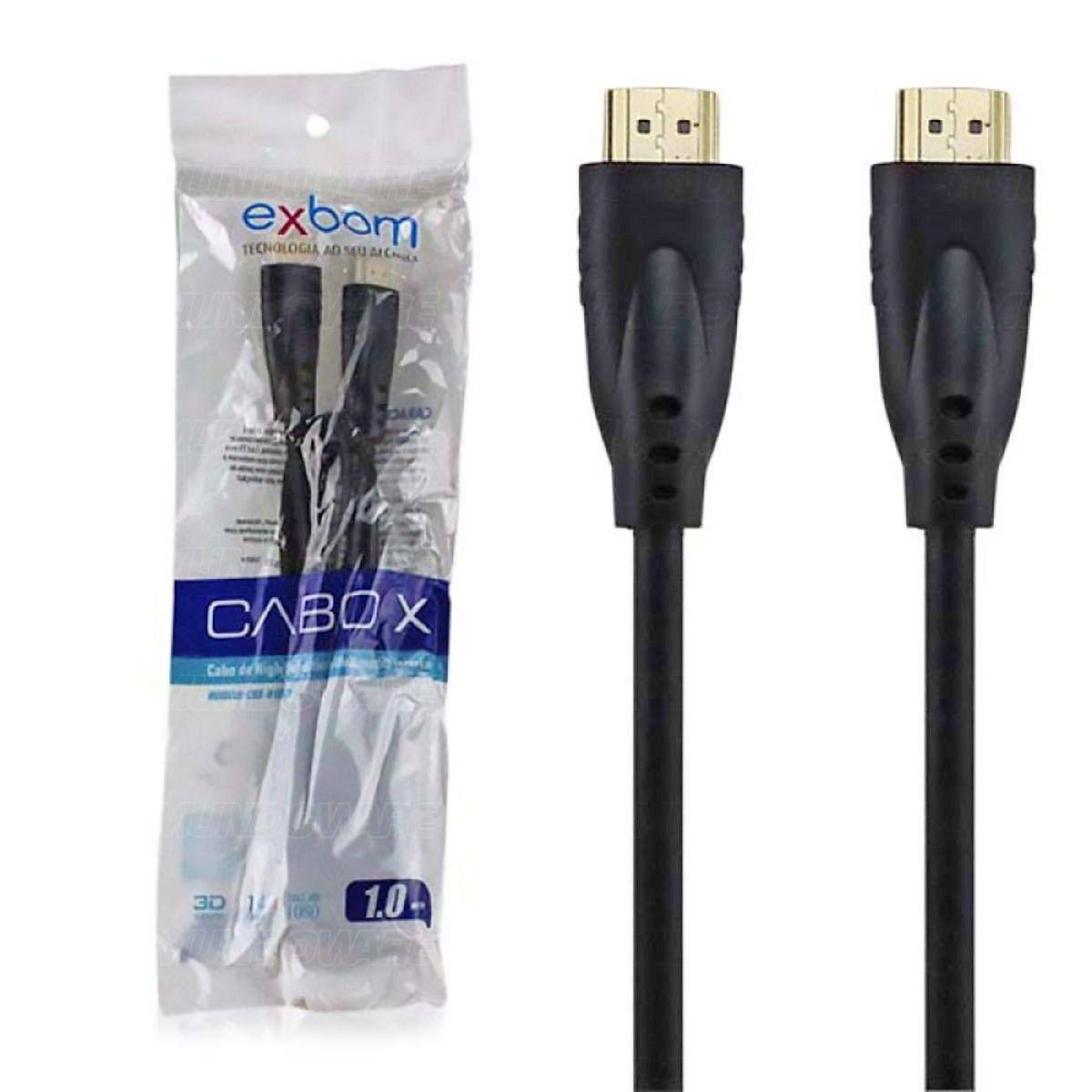 Cabo HDMI Suporte 3D Versão 1.4 Full HD 1080 1 Metro Exbom CBX-H10SM
