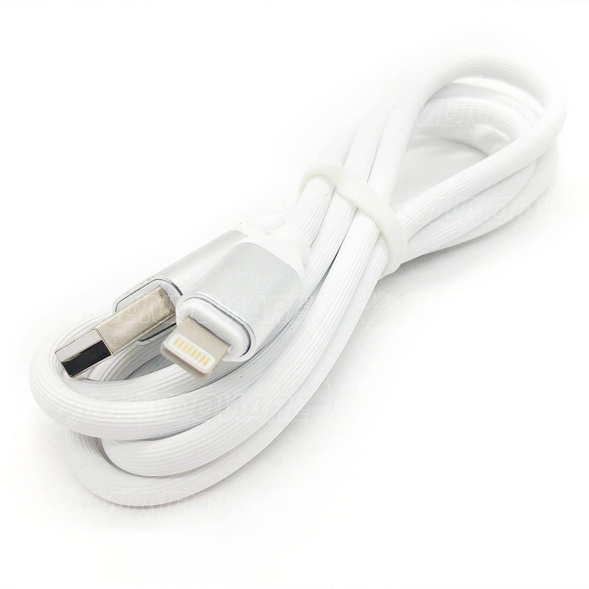 Cabo Lightning em Silicone Flexível Branco com Conector em Metal Resistente 120cm