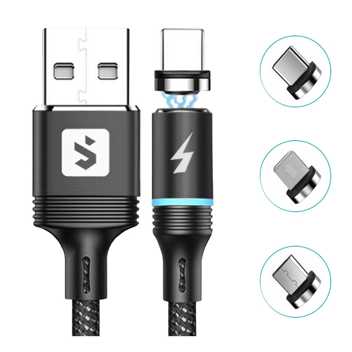 Cabo para Celular 3 em 1 com Conectores Magnéticos Micro USB V8 + USB Tipo C + Lightning 2.4A 1 metro SX-B16-3 Preto
