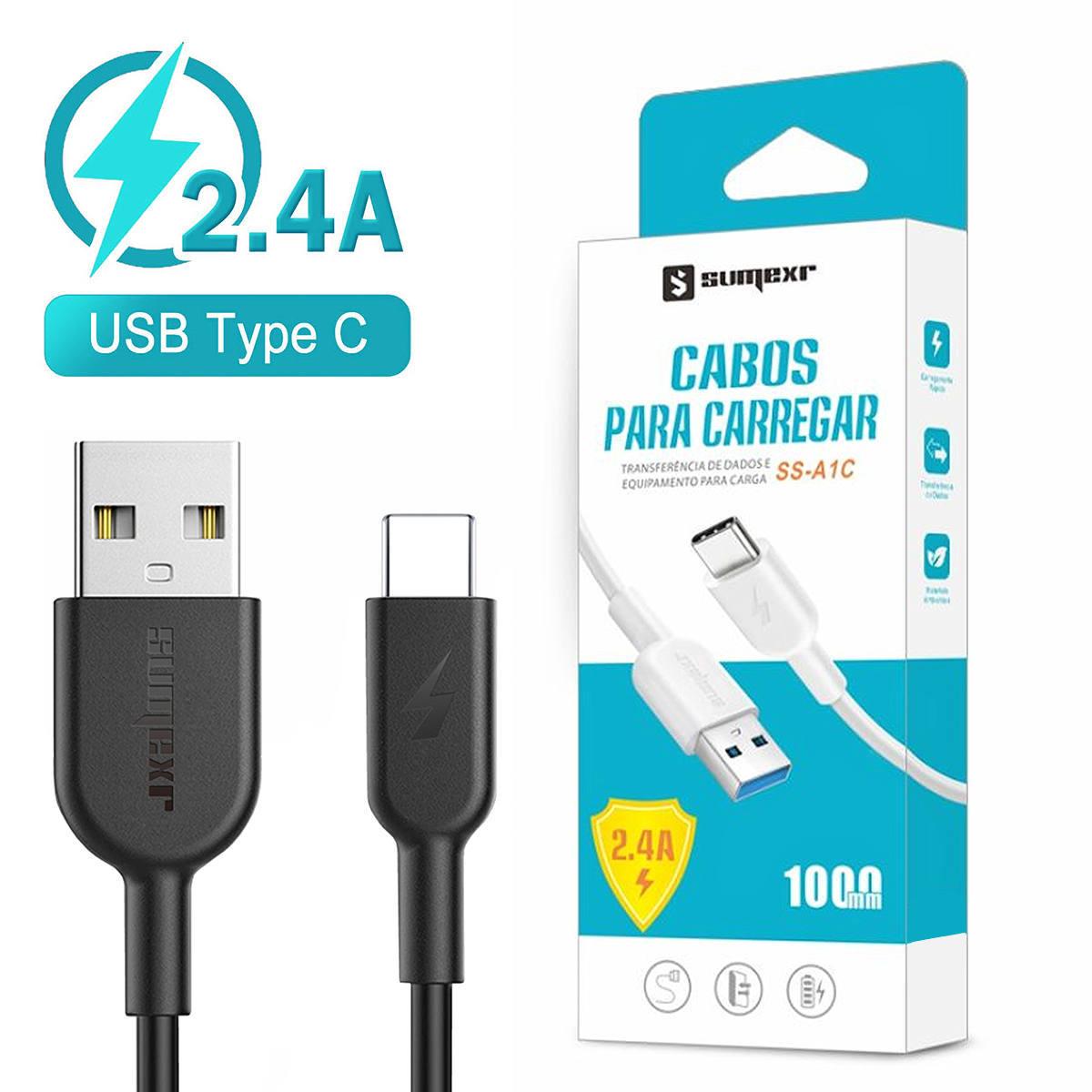 Cabo para Celular USB Tipo-C 2.4A 1 Metro Emborrachado e Resistente Sumexr SS-A1C Preto