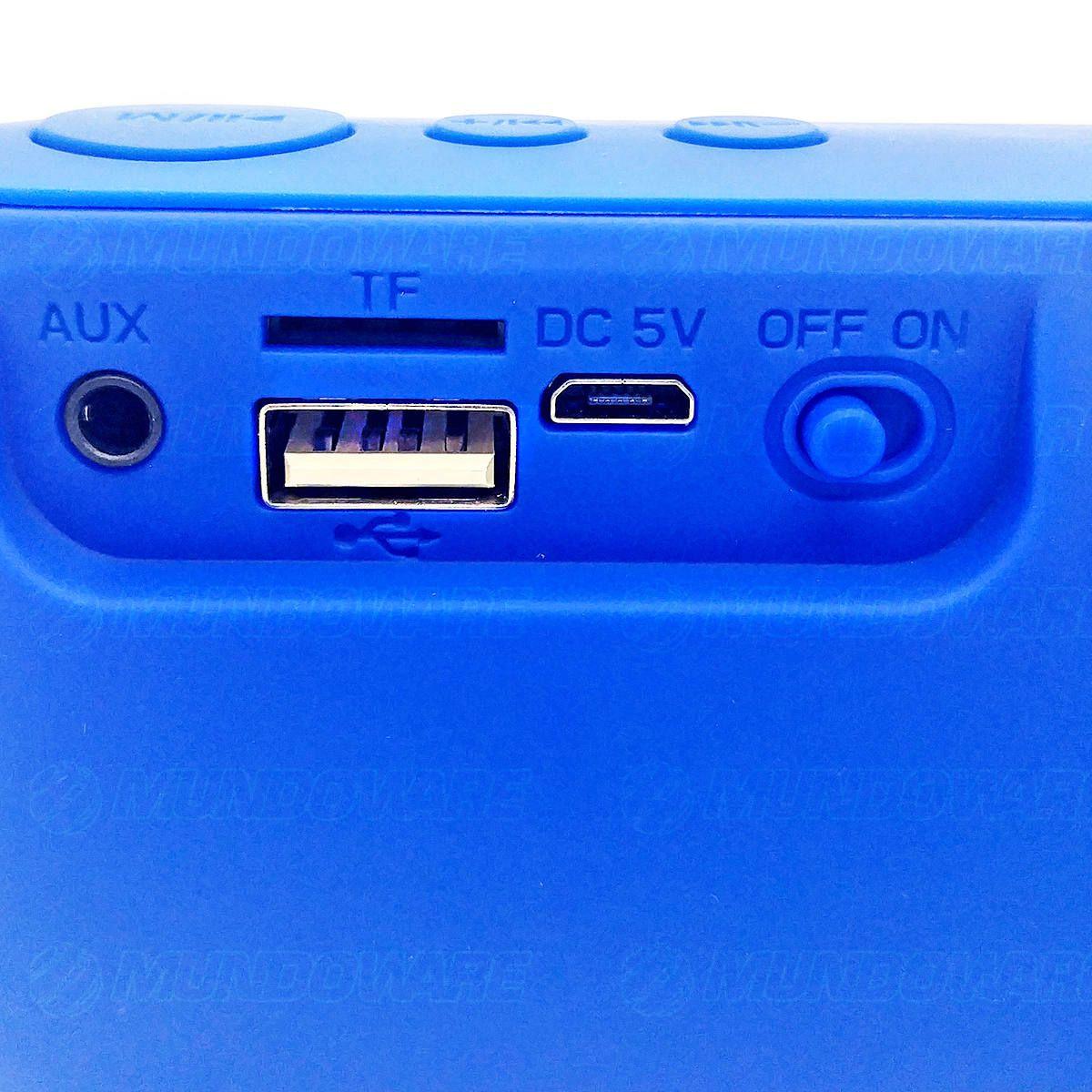 Caixa Bluetooth Portátil 3W com Rádio FM USB Micro SD Auxiliar Microfone Embutido Exbom CS-M29BT Azul