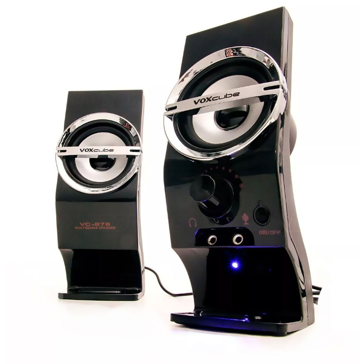 Caixa de Som 2.0 com Entrada para Microfone 5W RWS VoxCube VC-878
