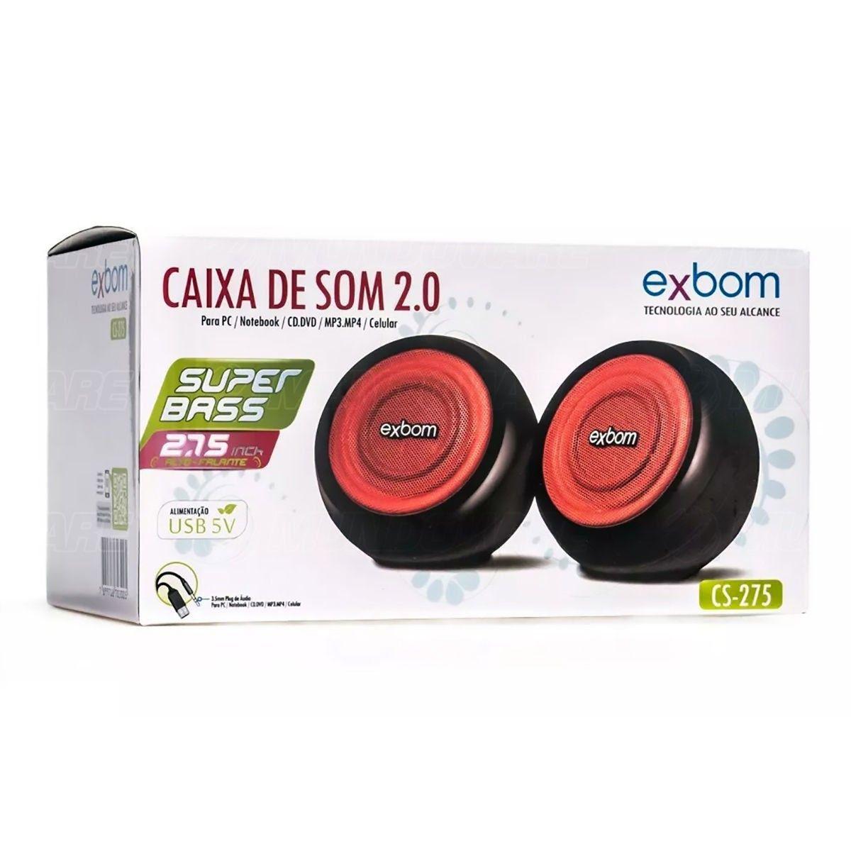 Caixa de Som 2.0 Super Bass 5W RMS USB Exbom CS-275 Preta e Vermelha