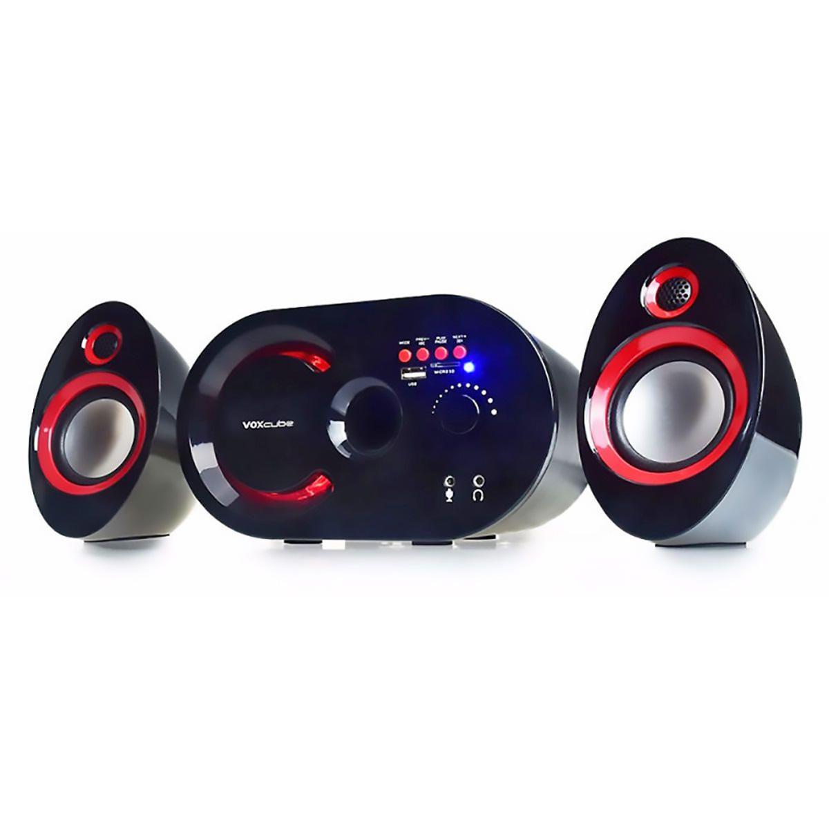 Caixa de Som 2.1 Multimídia 18W com Bluetooth FM Entrada SD USB Auxiliar Infokit VC-G320BT Preta e Vermelha