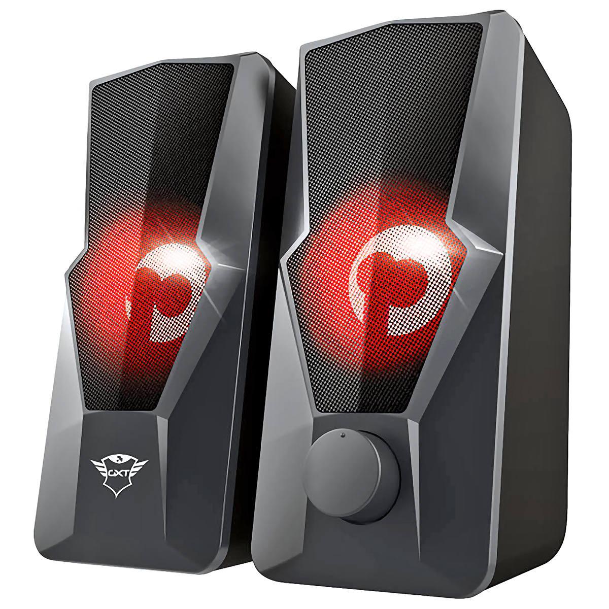 Caixa de Som Argus Illuminated 2.0 USB 20W Design Robusto Iluminação LED Pulsante no Ritmo da Música Trust GXT 610