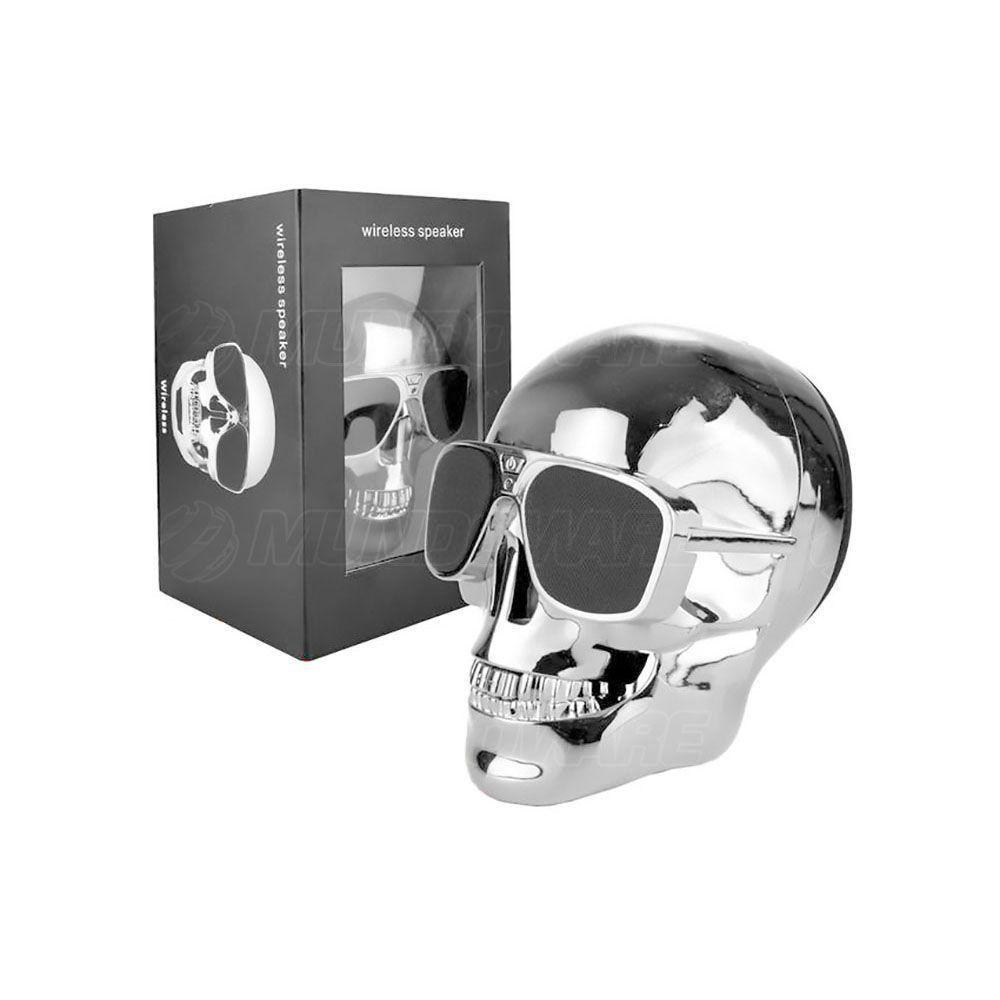 Caixa De Som Bluetooth 10W RMS com 2 Alto-Falantes + 1 Subwoofer e Bateria Recarregável Caveira Skull Prata