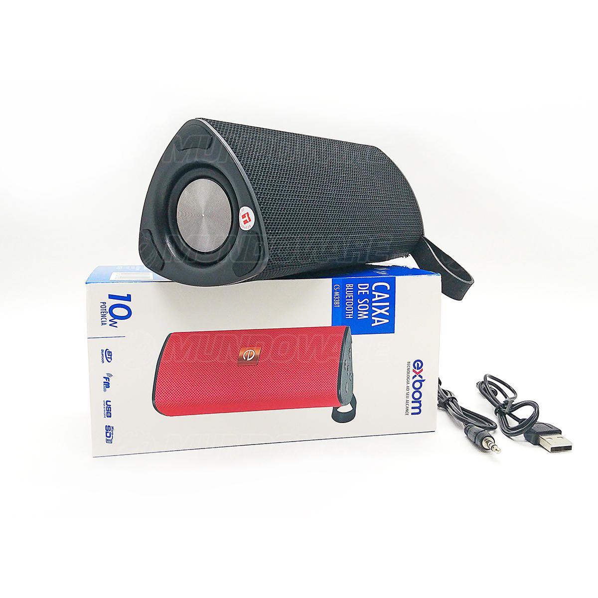 Caixa de Som Bluetooth 3.0 Portátil 10W Entrada USB Micro SD Auxiliar P2 Mic Hands Free Exbom CS-M33BT Preta