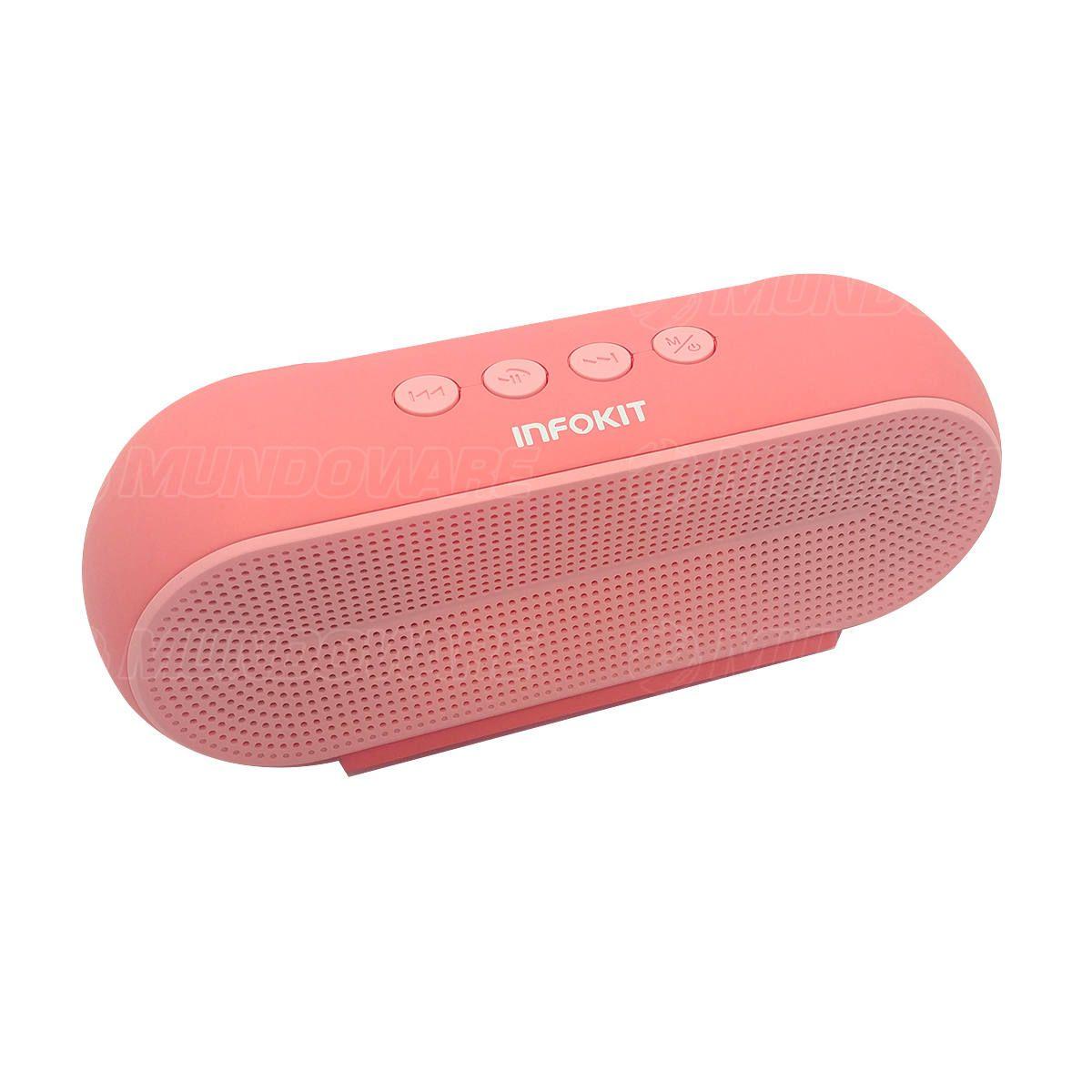 Caixa de Som Bluetooth 5.0 Multimídia 10W FM USB SD P2 Tecnologia TWS Bateria 1200mAh Macaron VC-M290BT Rosa