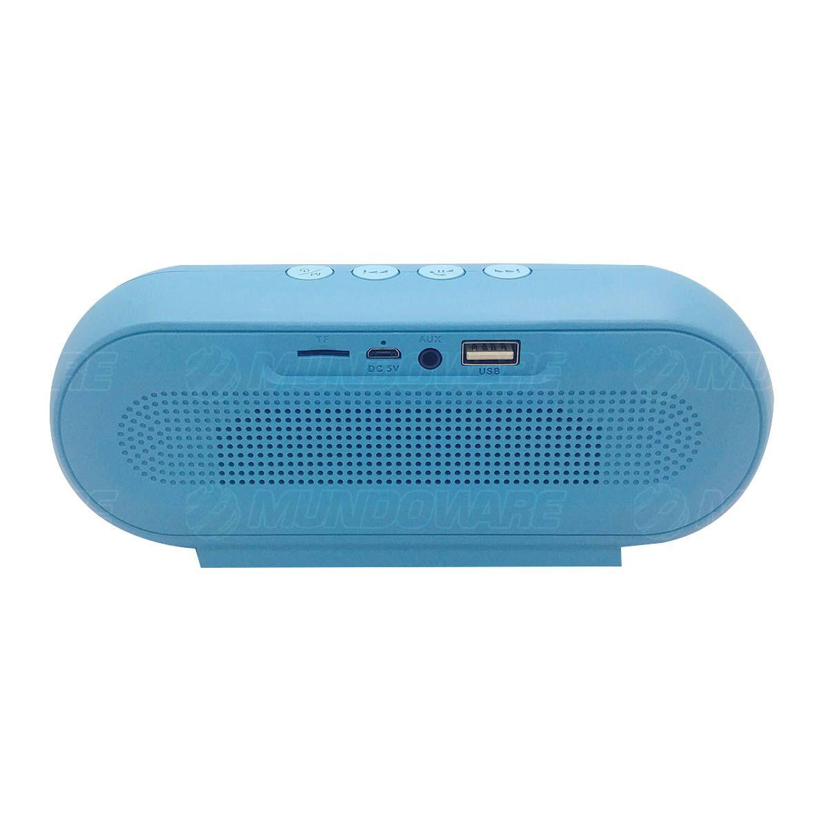 Caixa de Som Bluetooth 5.0 Multimídia FM USB SD P2 Tecnologia TWS Bateria 1200mAh Macaron VC-M290BT Azul