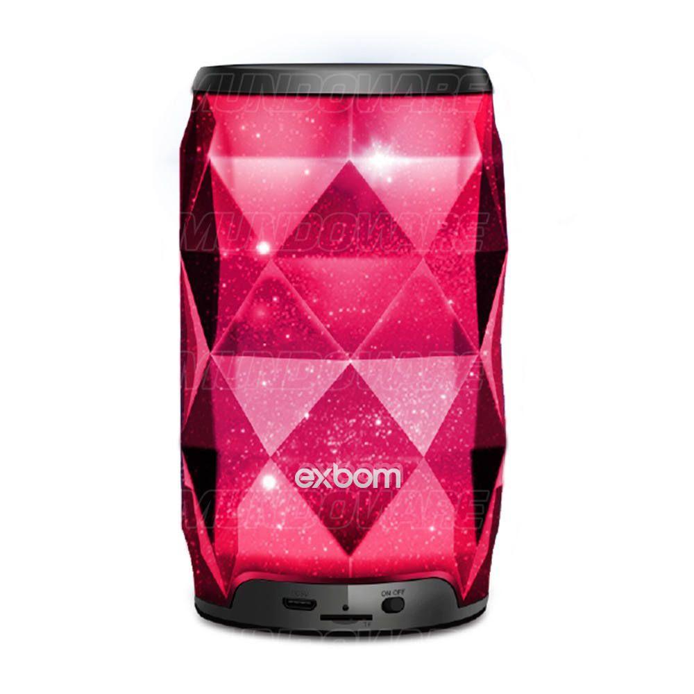 Caixa de Som Bluetooth Design Cristal Iluminação em LED Colorido RGB Rádio FM Cartão SD Exbom CS-M54BT Preta