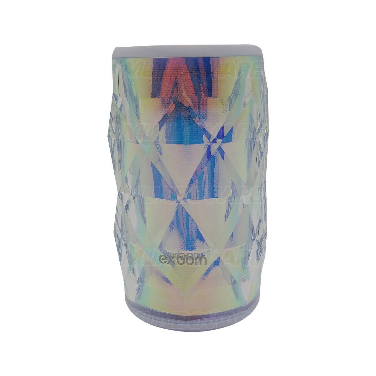 Caixa de Som Bluetooth Design Cristal Iluminação em LED Colorido RGB Rádio FM Cartão SD Exbom CS-M54BT Branca