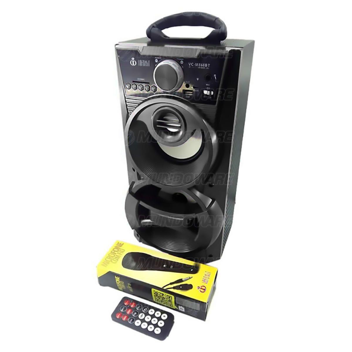 Caixa de Som Bluetooth Portátil 12W Torre com USB SD FM Aux Microfone Karaoke e LED DJ Infokit VC-M868BT Preta