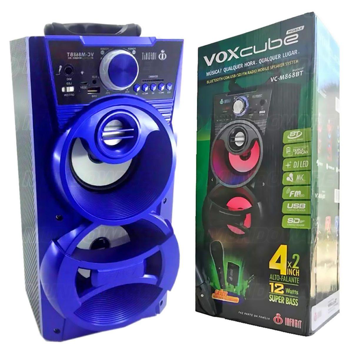 Caixa de Som Bluetooth Portátil 12W Torre com USB SD FM Aux Microfone Karaoke e LED DJ Infokit VC-M868BT Azul