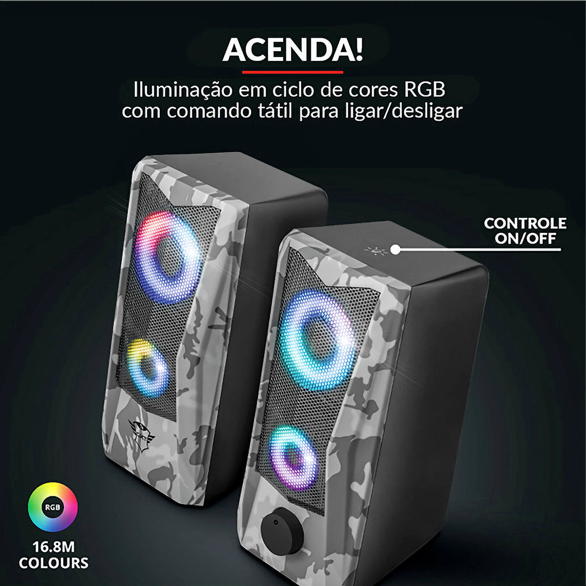 Caixa de Som Illuminated 2.0 Estéreo Speaker Set 6W RMS Grelha Metálica Trust GXT 606 Javv Camuflado