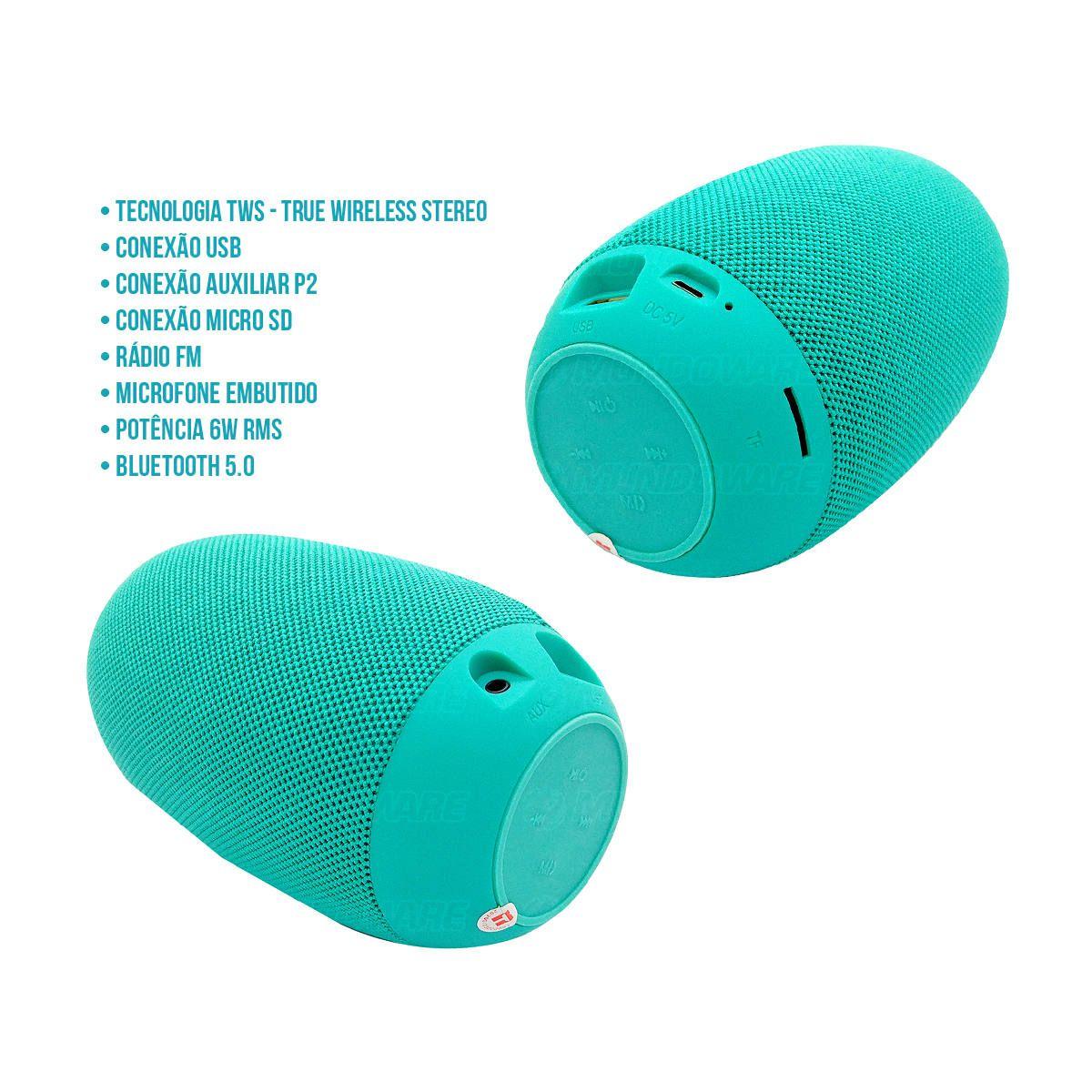 Caixa de Som Oval Speaker Bluetooth com TWS USB SD Rádio FM Microfone 6W Duplo Alto-Falantes Exbom CS-M50BT Verde