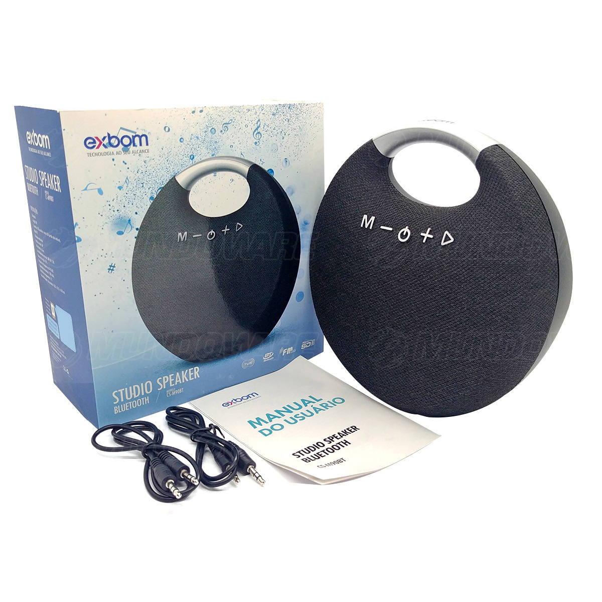 Caixa de Som Studio Speaker Bluetooth com Funções TWS USB Auxiliar SD FM Microfone com Alça Exbom CS-M90BT Preta