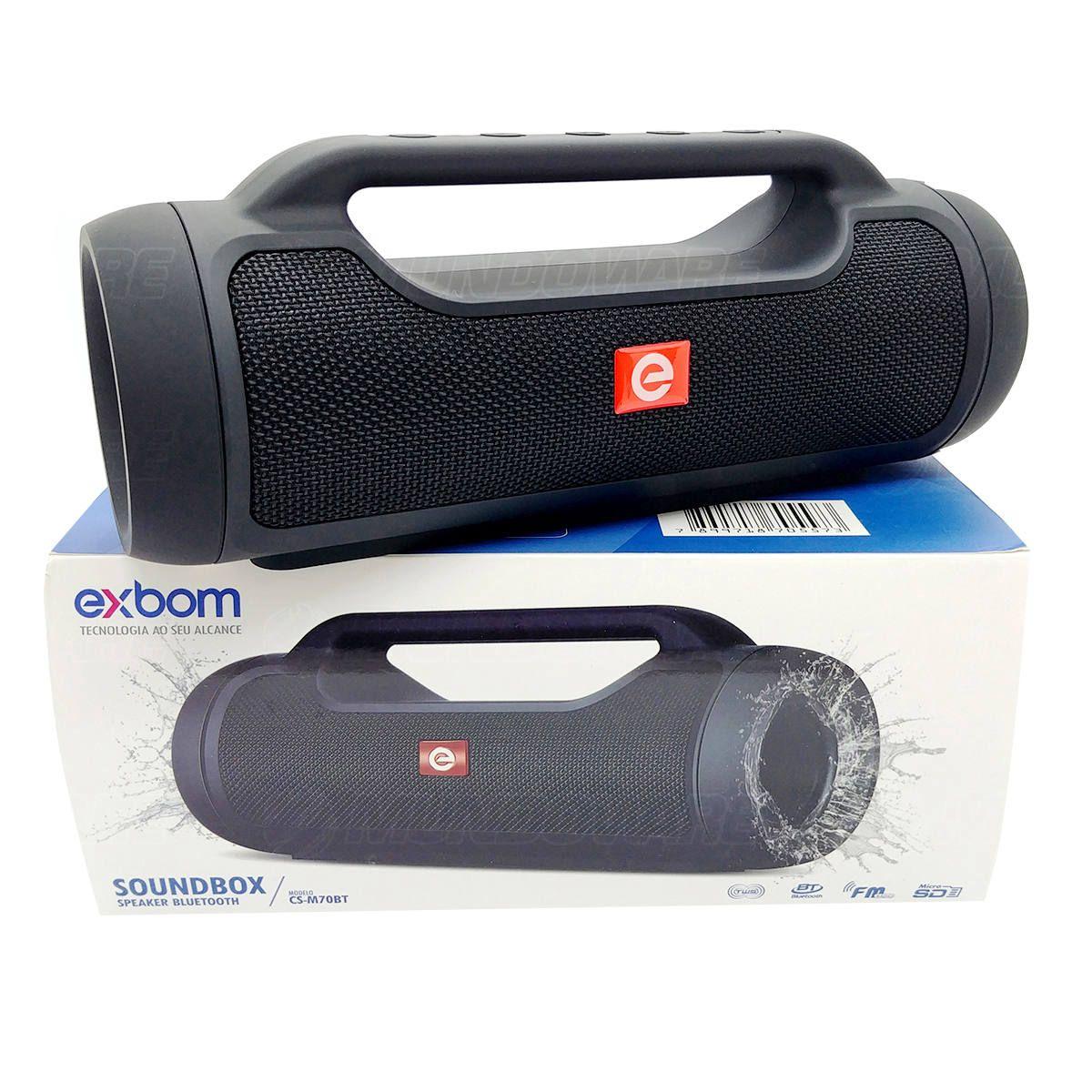 Caixa Soundbox Speaker Bluetooth com TWS FM P2 USB Micro SD Microfone Integrado com Alça EXBOM CS-M70BT Preta