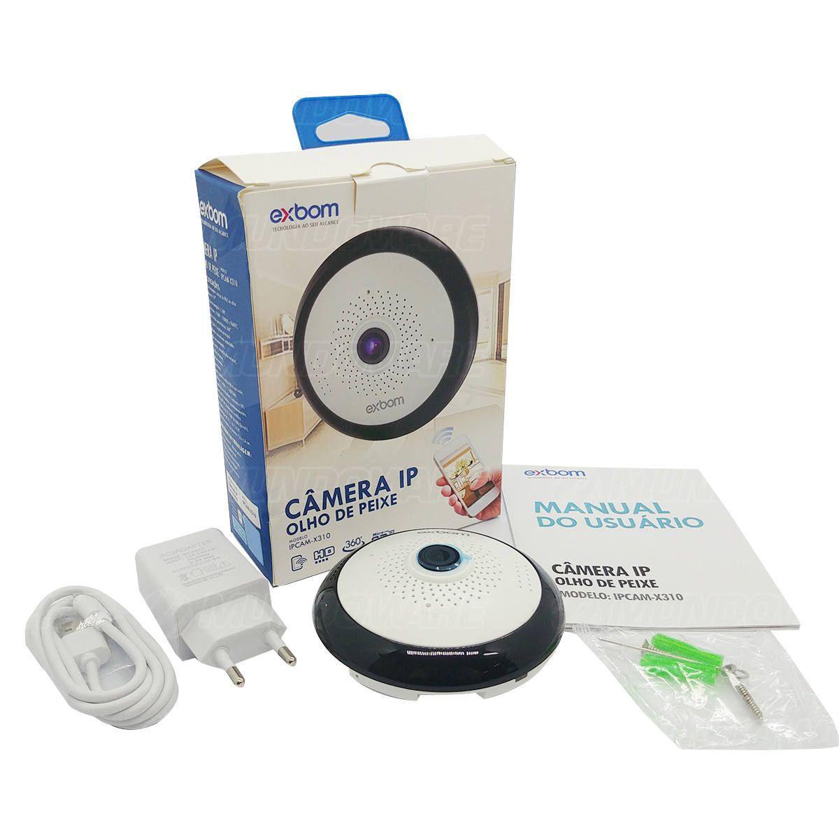 Câmera Olho de Peixe IP 360º HD 1.3MP 1280x960 Lente Fish Eye Visão Noturna Alto-falante e Mic SD Card Exbom IPCAM-X310