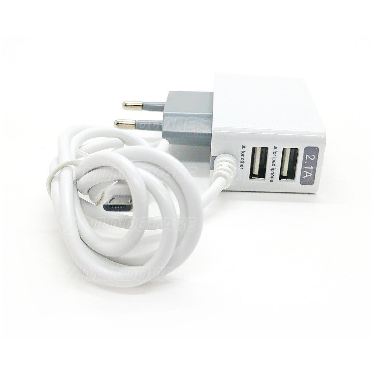 Carregador de Viagem USB Duplo para Celular com Cabo Micro USB V8 Bivolt Carga Rápida 2.1A com LED Exbom CA-S20
