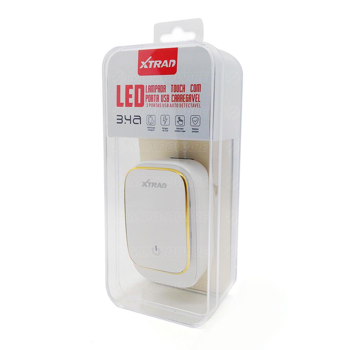 Carregador de Celular 3 Portas USB 3.4A Carga Rápida Bivolt de Parede com Lâmpada LED Touch Xtrad A1016