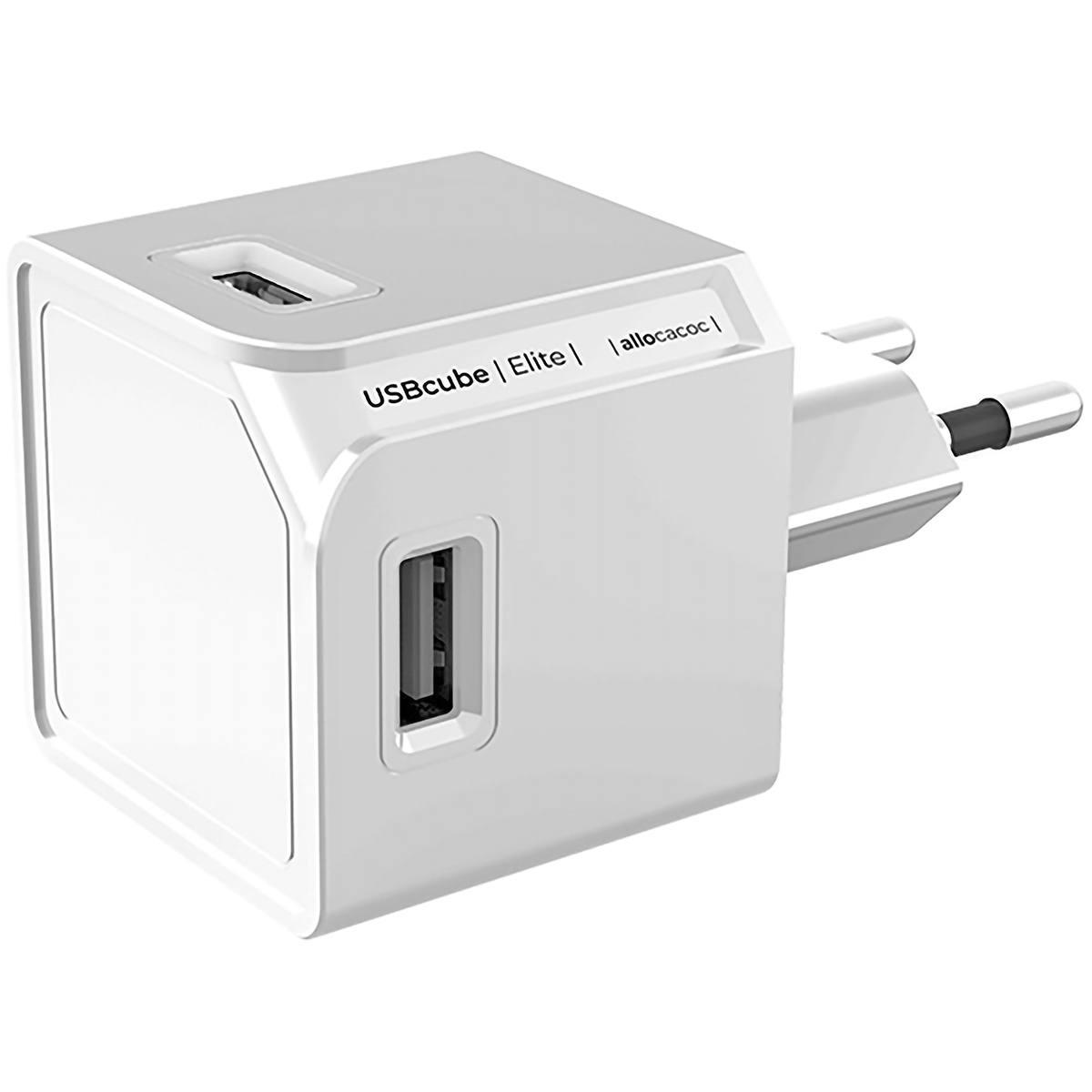 Carregador Multi USB Cube 4 Portas 3A Ultra Fast Charge 15W Alta Potência Bivolt Branco ELG USBCube