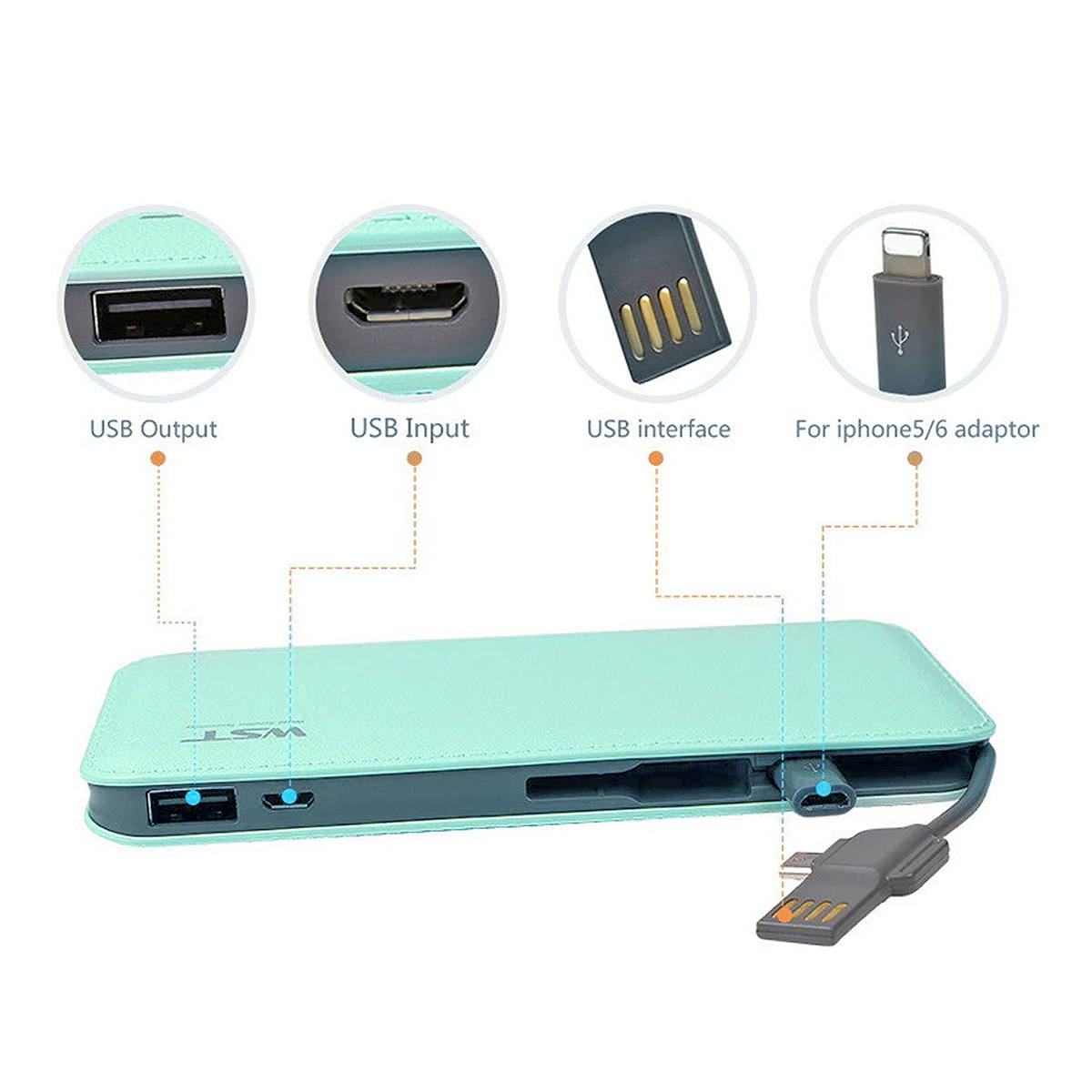 Carregador Portátil 9000mAh com Cabo de Conexão Micro USB V8 Power Bank WST DP622A Turquesa