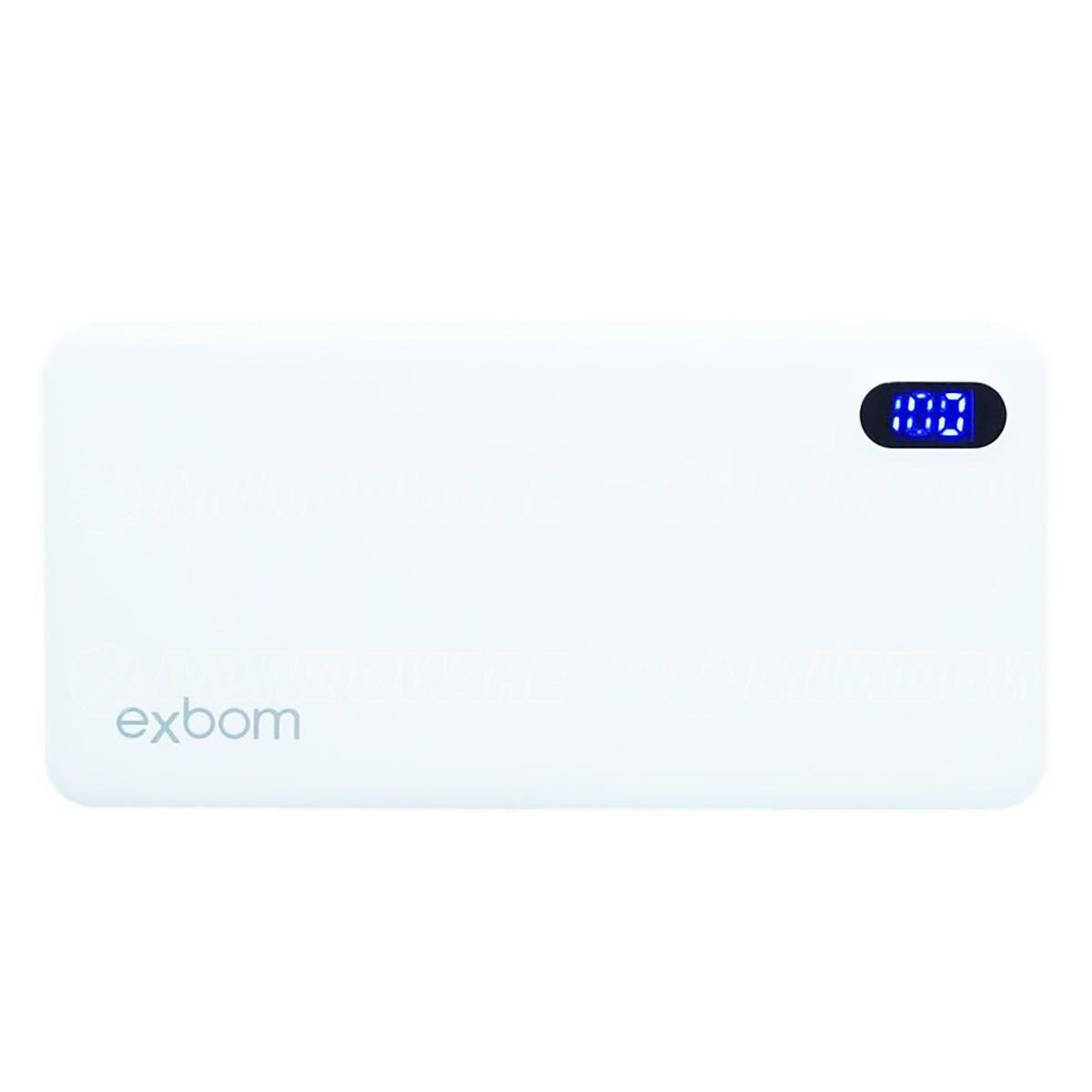 Carregador Portátil para Celular de 10.000mAh com Display LED Indicador de Carga Power Bank Exbom PB-M81Slim Branco