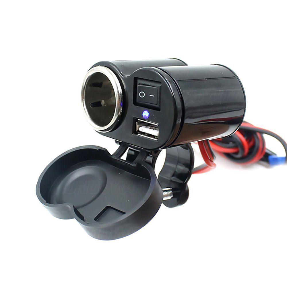 Carregador USB para Celular e GPS com Acendedor de Cigarro para Moto e Bicicleta Elétrica CAMT-AU20