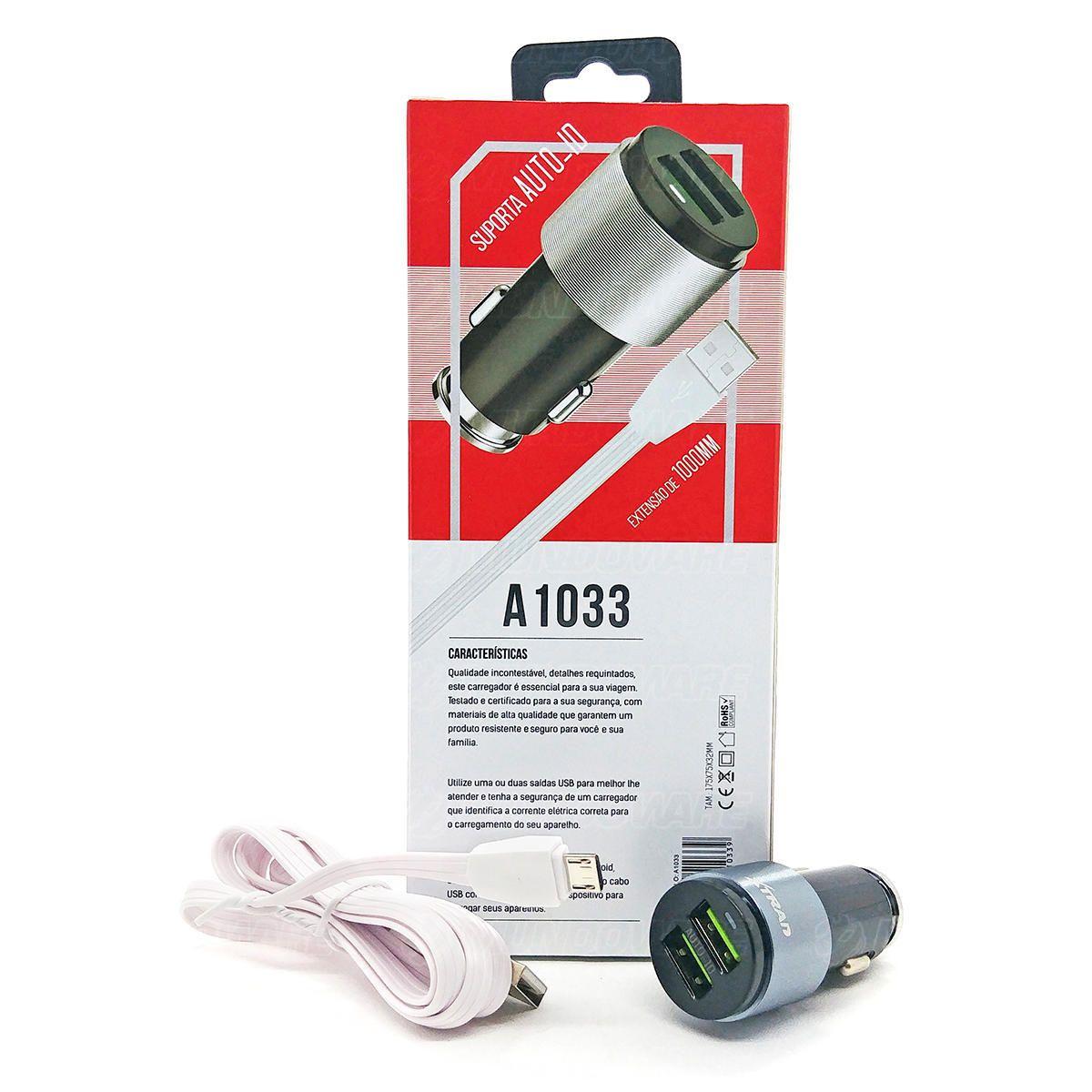 Carregador Veicular 2 Portas USB 4.2A para Celular com Cabo Extensão Micro USB de 1 Metro Xtrad A1033