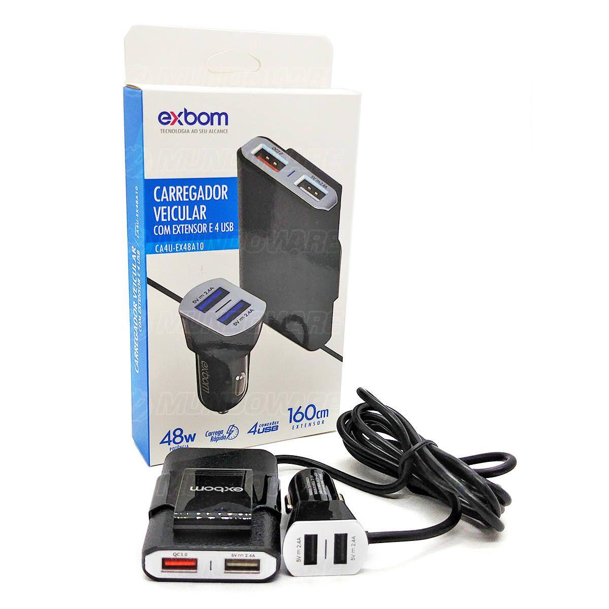 Carregador Veicular com Extensor para Banco Traseiro 4 USB 48W QC 3.0 Carrega Rápido Cabo de 160cm Exbom CA4U-EX48A10