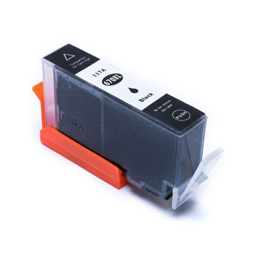 Compatível: Cartucho de Tinta 670xl 670 para Impressora HP 3525 4615 4625 5525 6520 6525 / Preto / 22ml