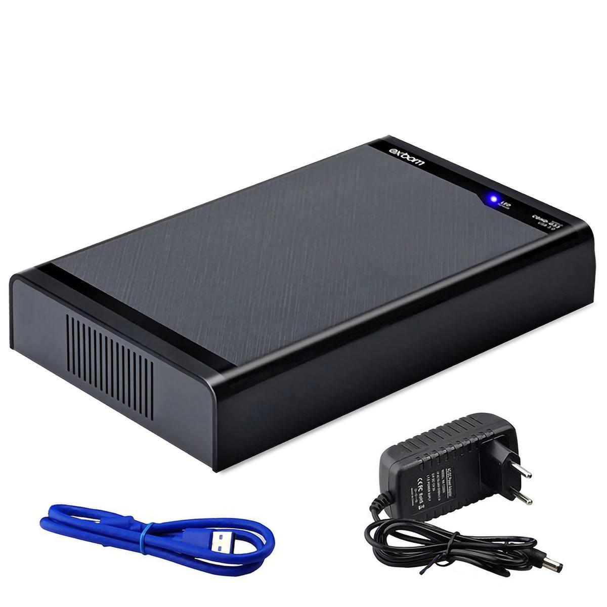 Case com Fonte de Energia Externa para SSD e HD 3.5 Polegadas SATA USB 3.0 até 10TB Exbom CGHD-G33 Preto