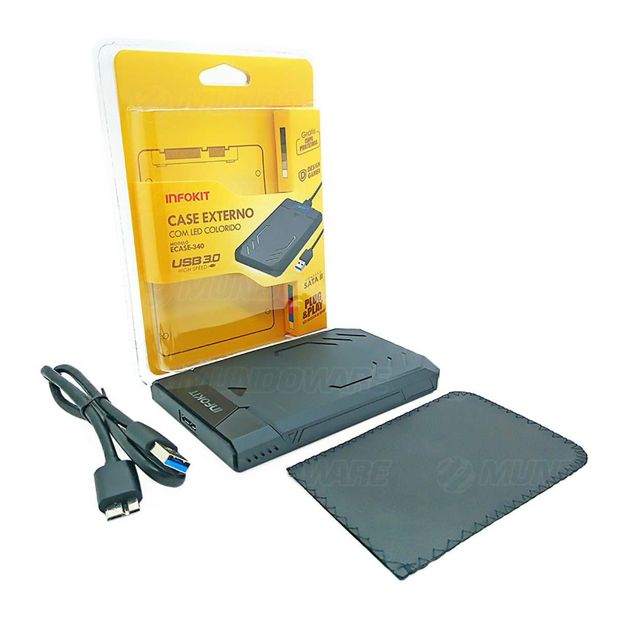 "Case Externo USB 3.0 Fast 5Gbps apoio UASP para HD SSD SATA II 2.5"" 3TB LED Colorido e Capa Protetora Infokit Ecase-340"