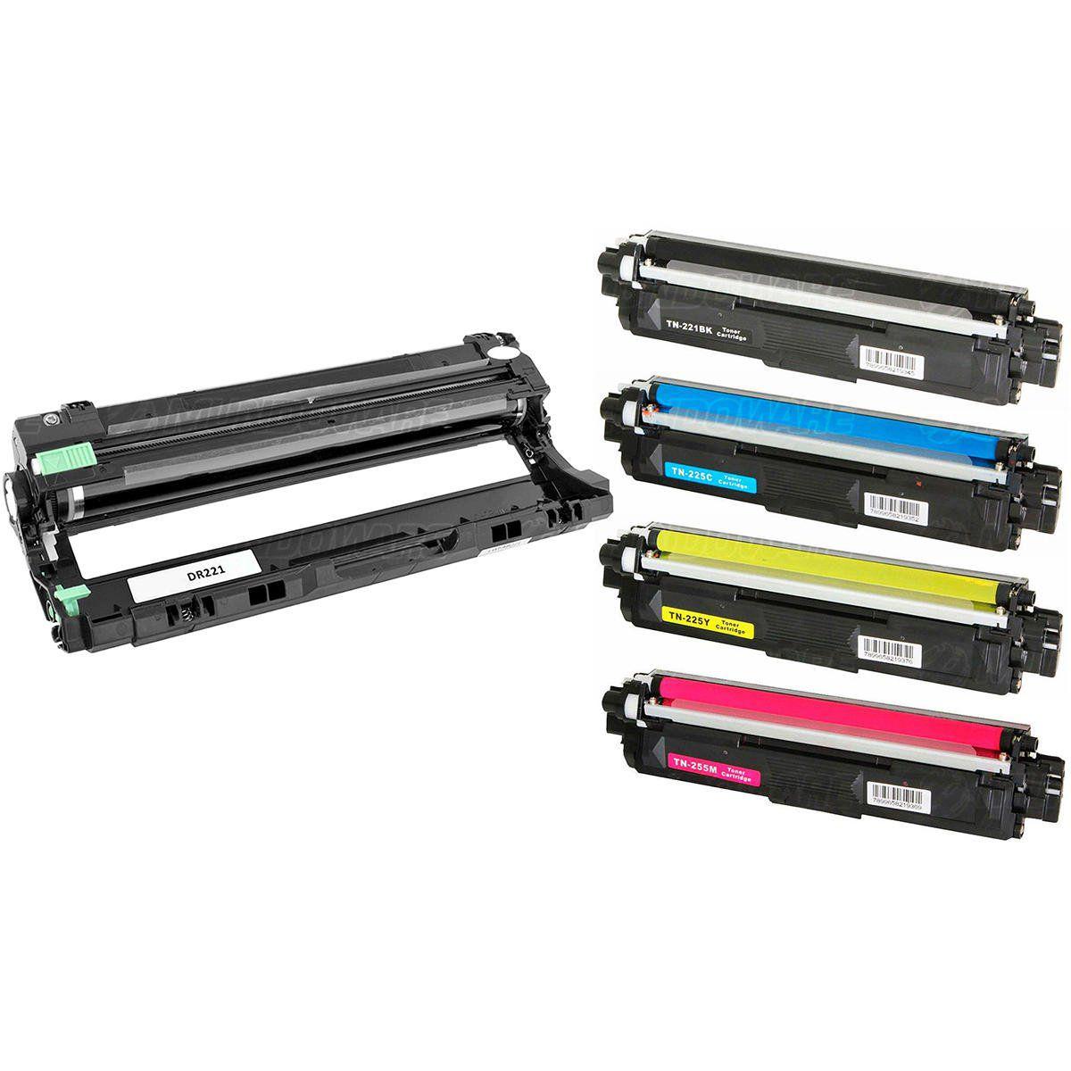 Compatível: Combo Fotocondutor DR221 + Kit Colorido de Toner TN221/225 para Brother HL-3140 HL-3150 3170 DCP-9020 9055
