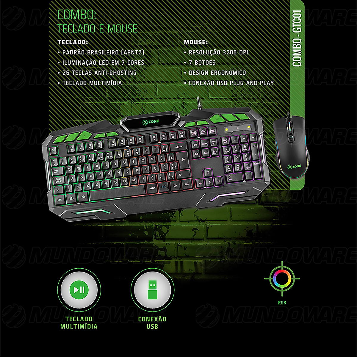 Combo Gamer 2 em 1 Teclado + Mouse USB ABNT2 LED 7 Cores 26 Teclas Anti-Ghosting 3200DPI 7 Botões XZone GTC-01