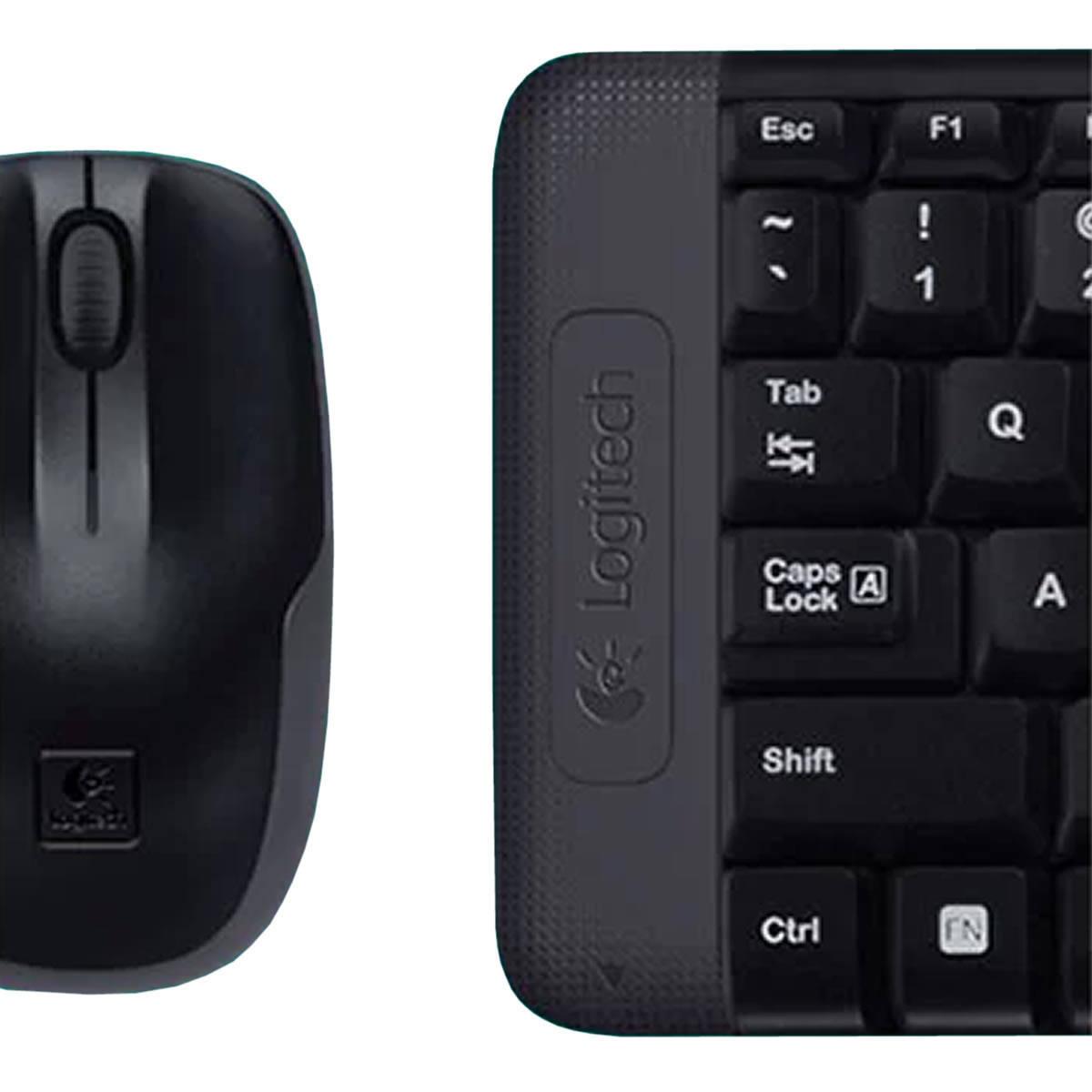 Combo Teclado e Mouse Sem Fio Logitech MK220 Design Minimalista ABNT2 Pilhas Inclusas 920-004431