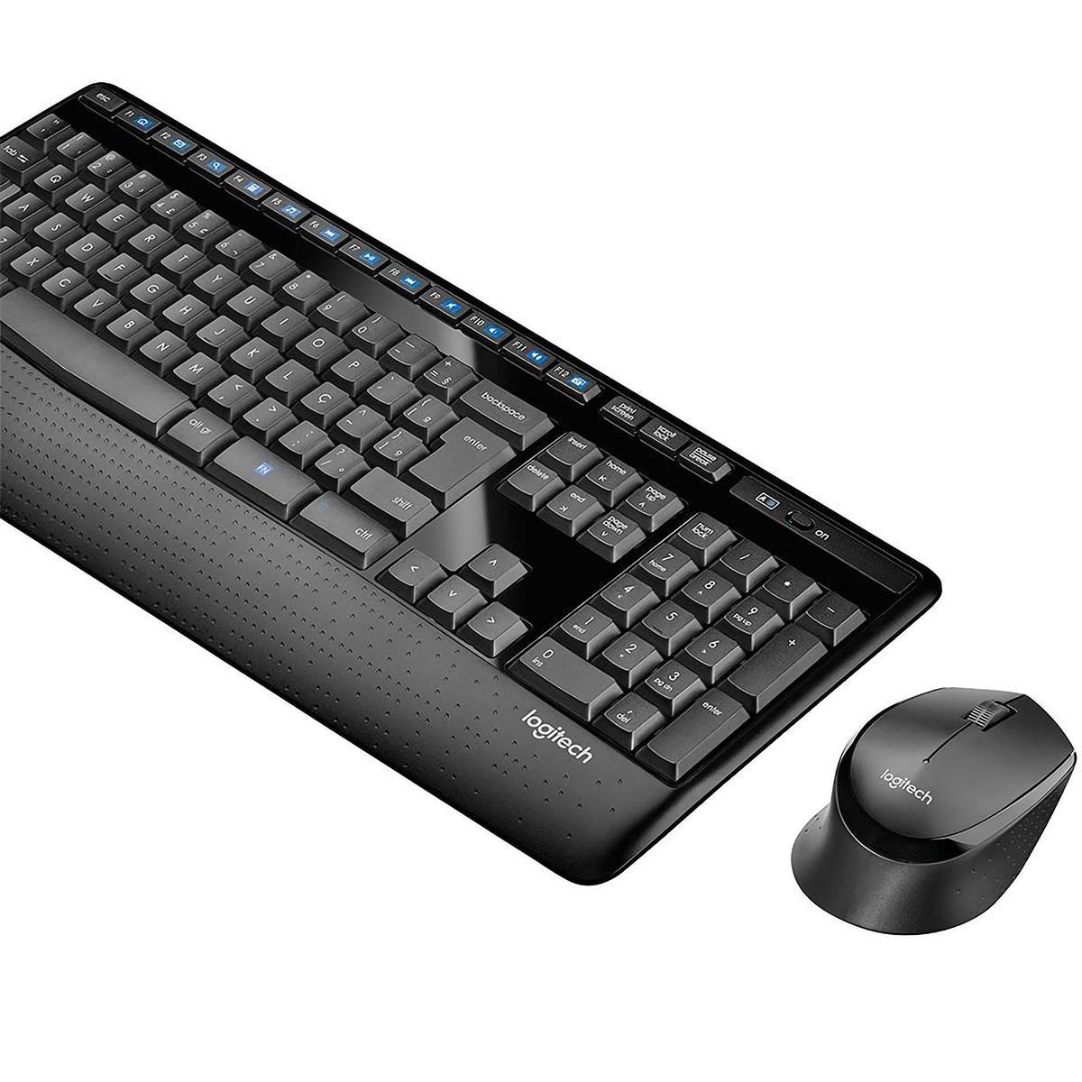 Combo Teclado e Mouse Sem Fio Logitech MK345 Wireless ABNT2 Bateria de Longa Duração 920-007821 Preto