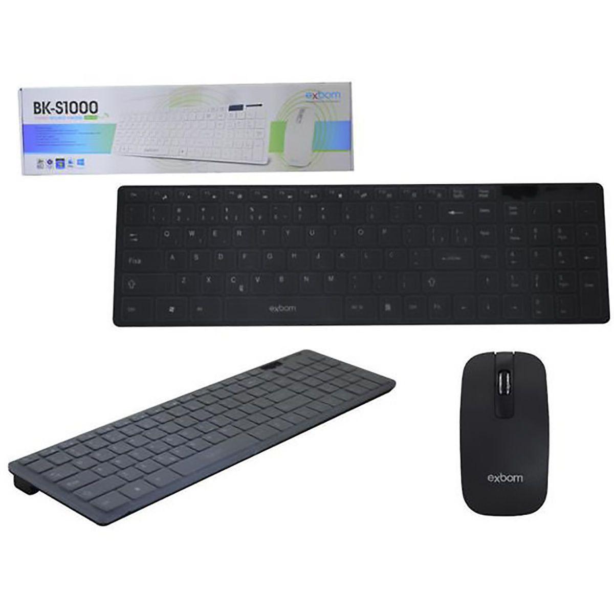 Kit Teclado + Mouse Wireless Sem Fio 2.4Ghz 1600 Dpi Exbom BK-S1000 Preto