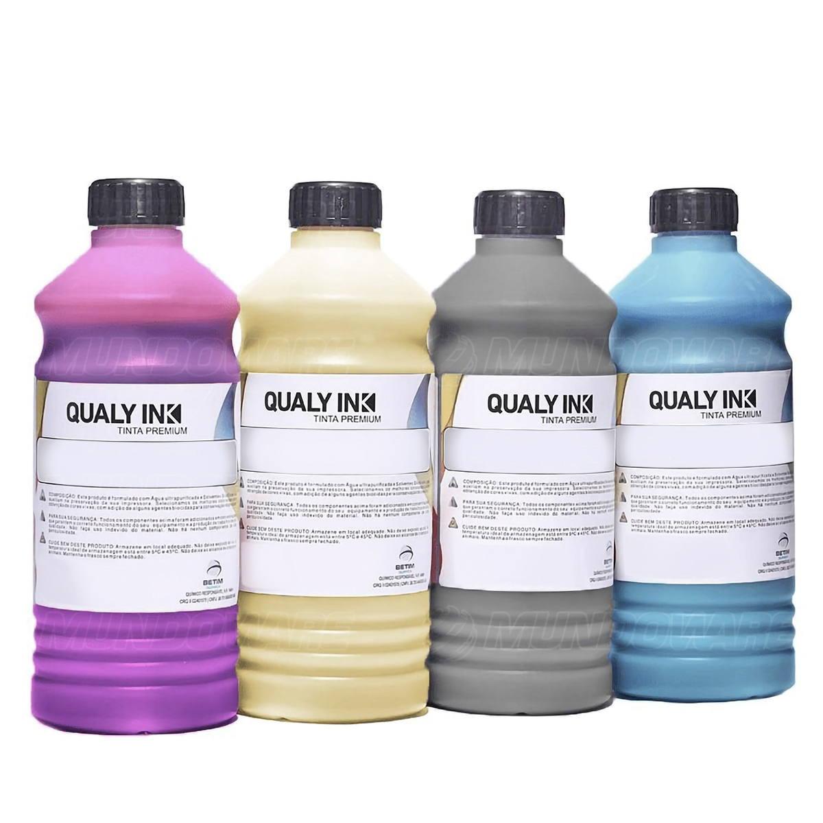 Compatível: Kit 4 Cores Tinta Corante Qualy-Ink Série 504 / 544 para Epson L3110 L3150 L4160 L6161 CMYK 4 de 1L