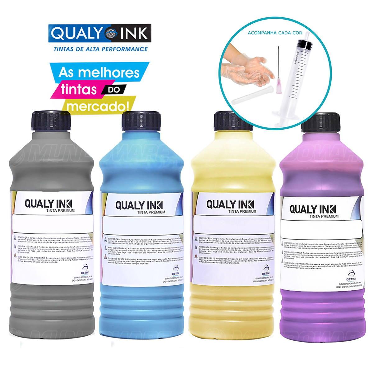 Compatível: Kit 4 Cores Tinta Corante Qualy-Ink para Recarga de Cartuchos HP série 3000 CMYK 4 de 1L