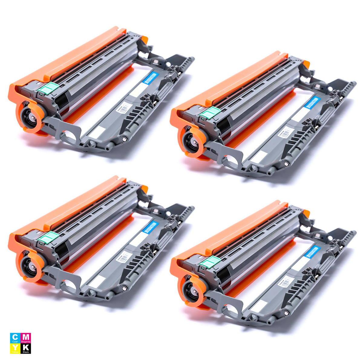 Compatível: Kit 4x Fotocondutor DR210 para Brother HL-3040 3045 3070 8070 8370 MFC-9010 9125 9320 9325 / CMYK / 15.000