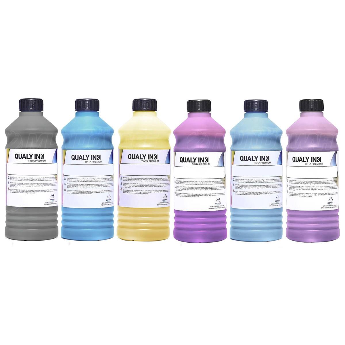 Compatível: Kit 6 Cores Tinta Pigmentada Qualy-Ink Série 673 para Epson L800 L805 L810 L850 L1800 CMYK 6 de 1L