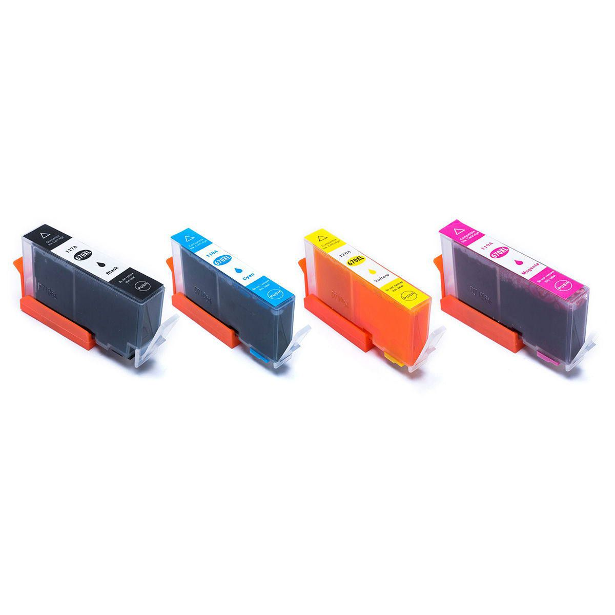 Compatível: Kit Colorido de Cartucho de Tinta 670xl 670 para impressora HP Ink Advantage 3525 4615 4625 5525 6520 6525