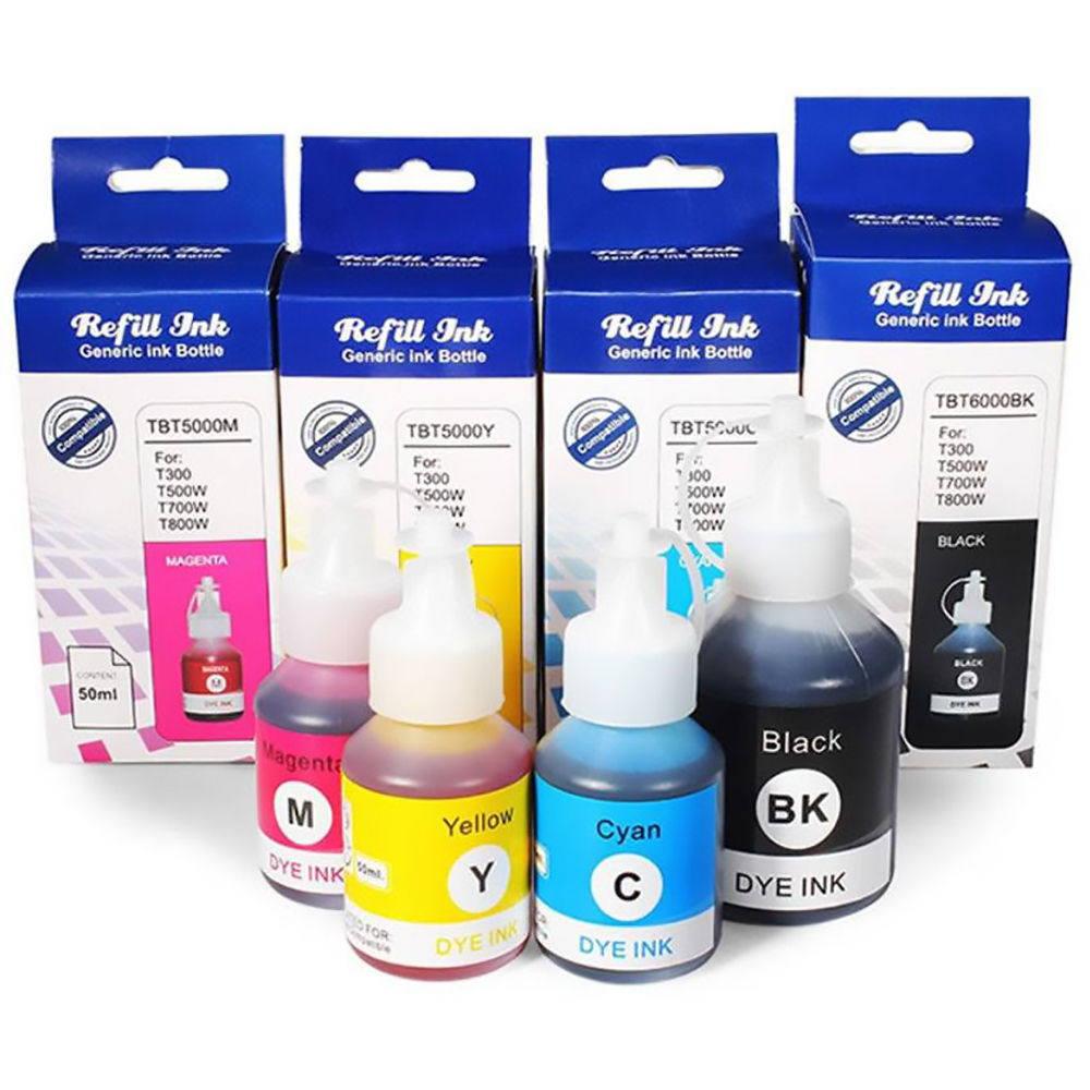 Compatível: Kit Colorido de Tinta Corante Laserteck para Brother DCP-T300 DCP-T500W DCP-T700W MFC-T800W DCPT500 MFCT800