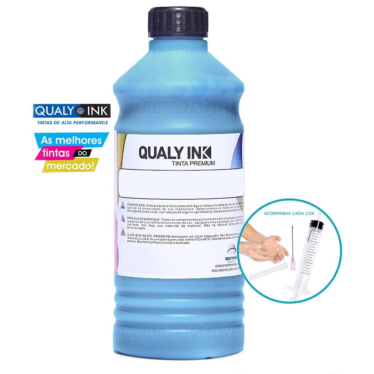 Compatível: Tinta Corante Qualy-Ink CC1H-698 para Recarga de Cartuchos HP série 3000 Ciano 1L