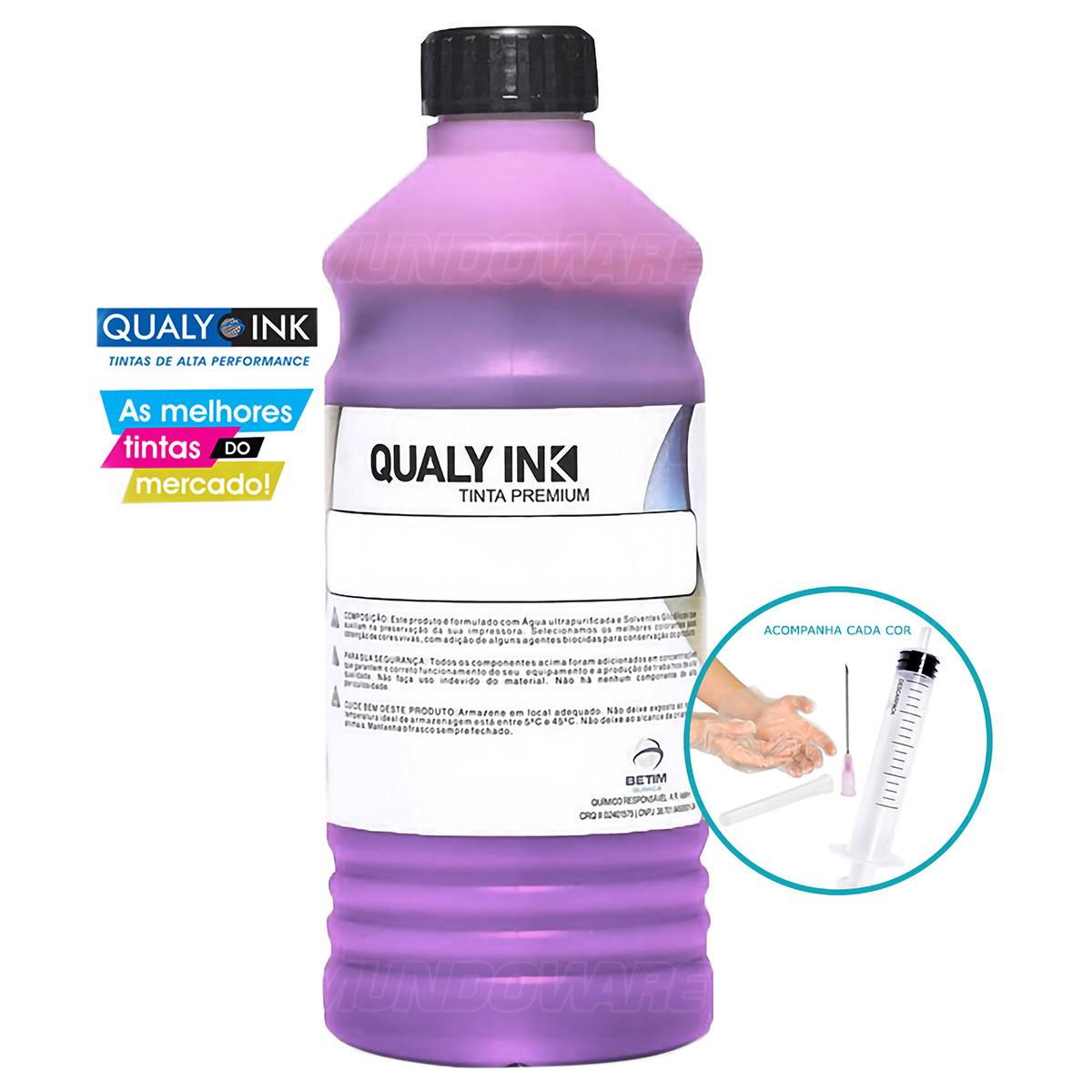 Compatível: Tinta Corante Qualy-Ink MC1H-697 para Recarga de Cartuchos HP série 3000 Magenta 1L